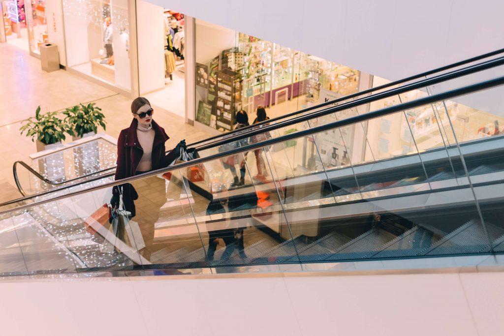 De compras en centro comercial