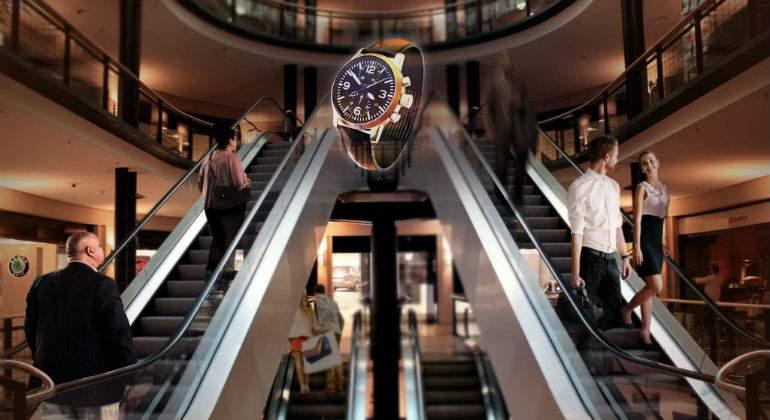 Holograma en centro comercial. Realidad virtual. Imagen tridimensional